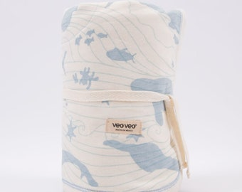 Veoveo Ocean Blanket Blue / Pink - Baby Shower Gift - Baby Lovey - Baby Blanket - Newborn Baby Girl Gift - Crib Bedding - Waves of Love