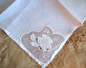 White Rose Handkerchief 1950's Vintage Applique Flower White Women's Hankie Accessory Wedding Bridal Borrowed Sewing