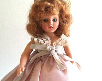 SALE~Vintage Bridesmaid Doll 1950's Hard Plastic Doll Saran Hair Wedding Doll Bridal Pink Lilac Taffeta Dress Taffeta Crinoline