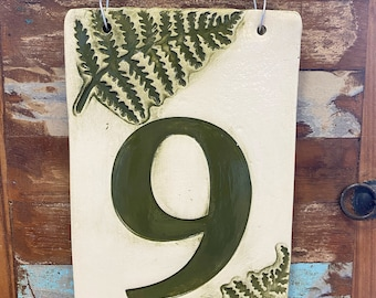 Sarge Army Green House Number With Ferns in Ceramic