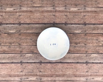 Small key plate or tea light plate in vintage blue reading 'I Do' for Weddings, Wedding showers, or anniversary gifts!