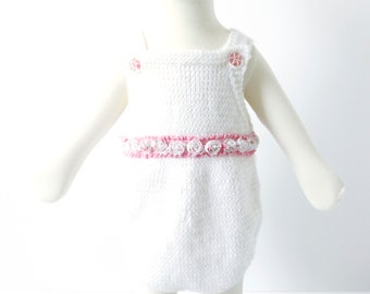White Baby Romper - Knit Rompers for Baby Girl  - Baby Girl Clothes - White Tea Rose Baby Girl Knit Romper - Baptism Baby Bodysuit