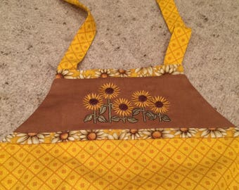 OOAK Reversible Apron Sunflowers