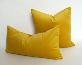 Buttercup yellow velvet pillow case