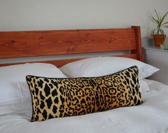 long lumbar leopard pillow // leopard print cushion  // long lumbar leopard cushion  // braemore jamil leopard pillow cover