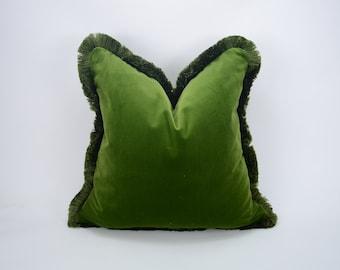 Green brush fringe pillow cover // moss green velvet cushion cover // green cushion with brush fringe trim