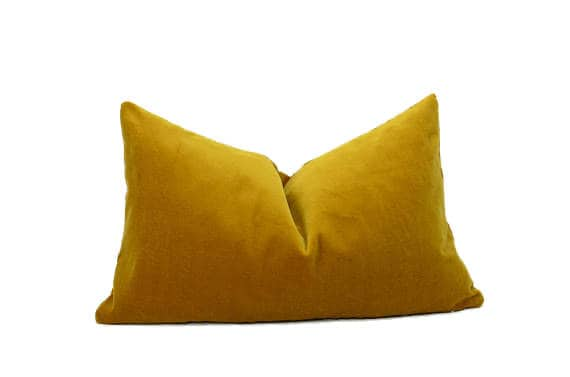 Mustard Velvet Pillow Cover // Dark Yellow Velvet Pillow // Rectangle Velvet Pillow // Mustard Velvet Cushion by Etsy