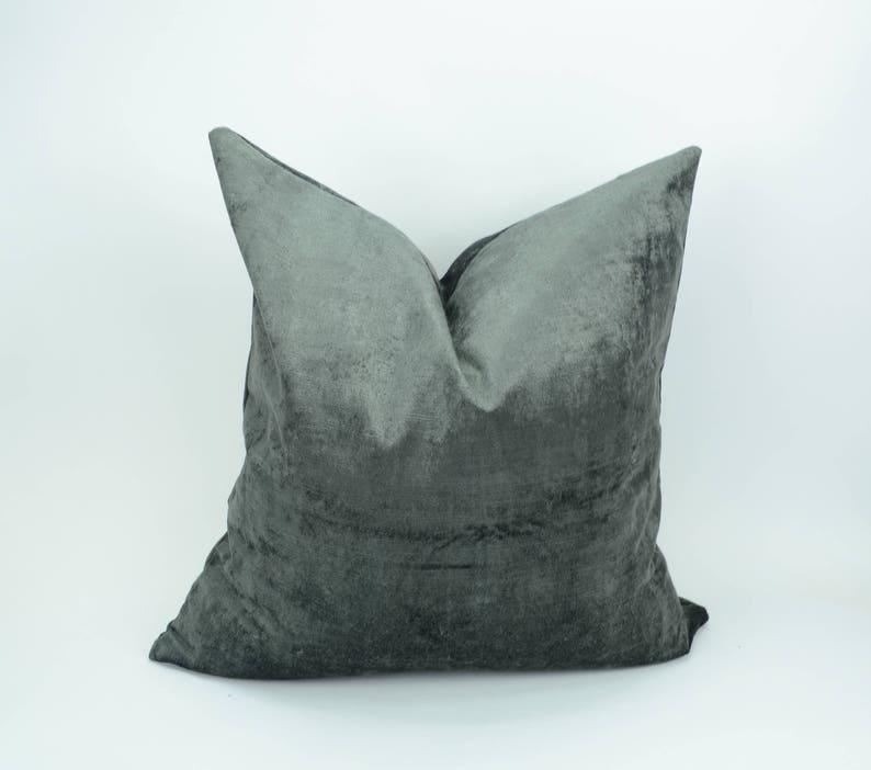 grey crushed velvet pillow case