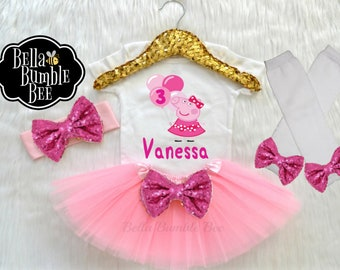 Baby Girl Peppa Pig Pink Balloon Inspired Matching Third Birthday Outfit 8bb0c8742f4