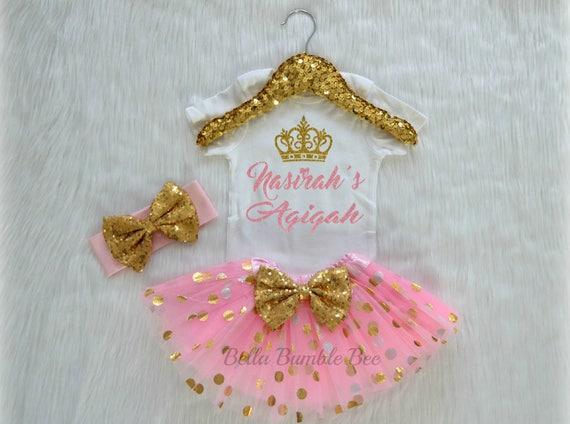 Baby Girl Custom Aqiqah With Name Light Pink And Gold Dot Headband Tutu Outfit Set Muslim Islam Aqeeqah Aqiqa Party Celebration 338