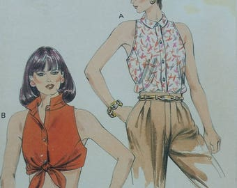Vintage Kwik Sew 1515 Sewing Pattern Sizes 14-16-18-20 Cropped Tops