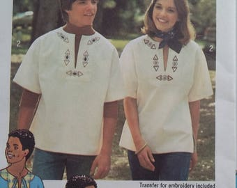 UNCUT and FF Pattern Pieces Vintage Simplicity 7611 Sewing Pattern Size Small Transfer Pullover Tops