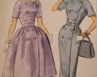 UNCUT and FF Pattern Pieces Vintage McCalls 5687 Sewing Pattern  Size 16 Bust 36 Dress with Slim or Full Skirt