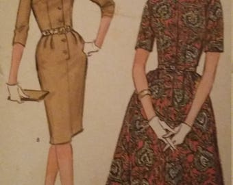 Vintage McCalls 1169 Sewing Pattern Size  14 Bust 34  Dress with Slim or Full Skirt