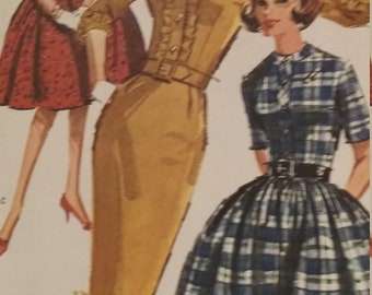Uncut and FF pattern pieces vintage McCalls 6430 sewing pattern size 12 Dress with slim or full skirt