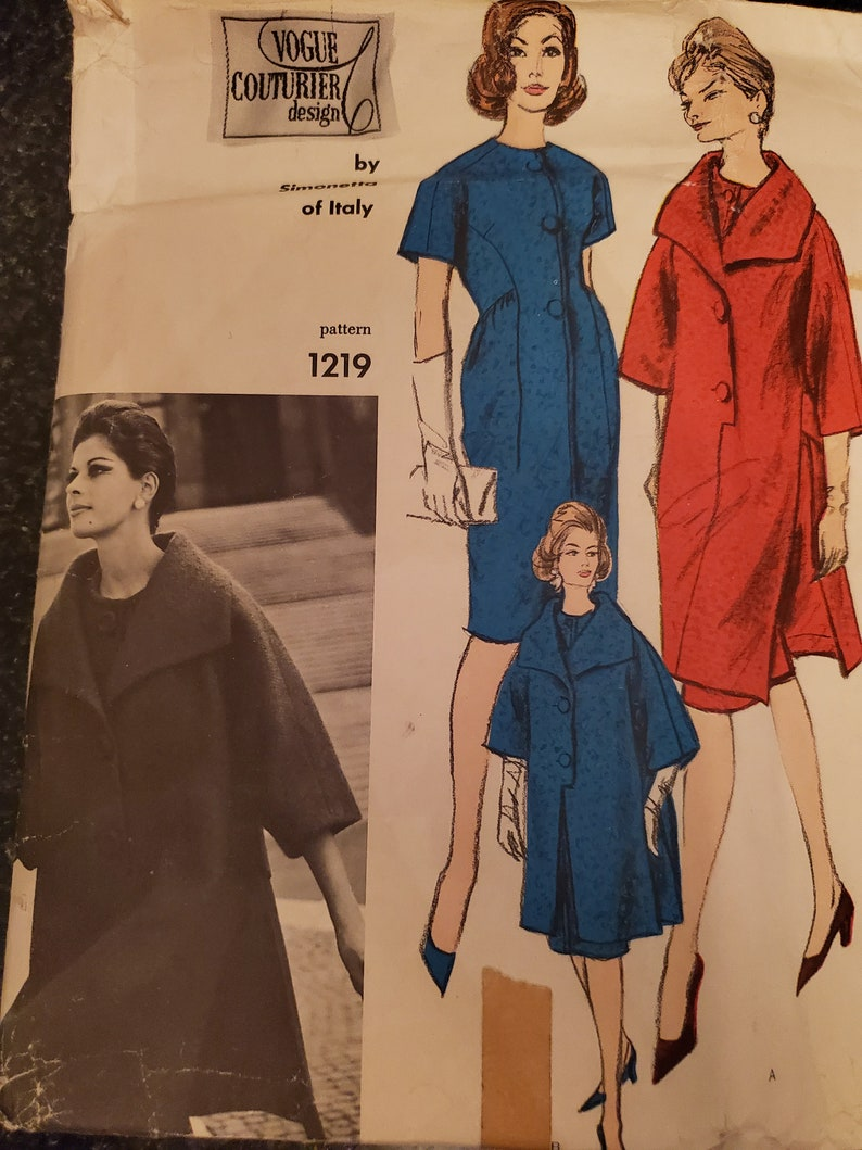RARE 60s Vogue LABEL Included One Piece Dress and Poncho Coat couturier design by Simonetta of Italy Vogue 1219 Sewing Pattern Size 12