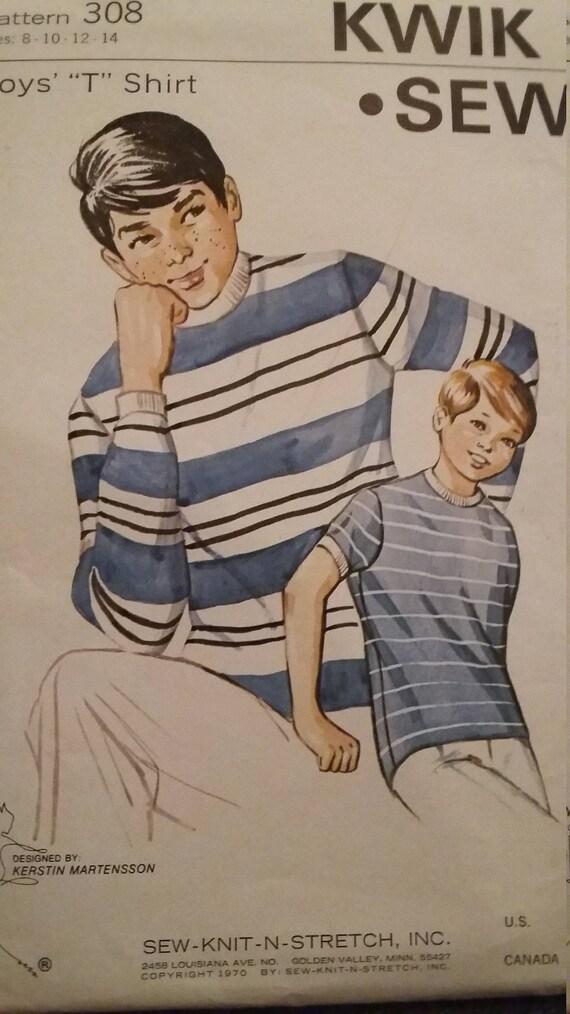 Uncut And Ff Pattern Pieces Vintage Kwik Sew 308 Boys T Shirt Etsy