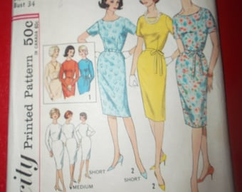 Vintage Sewing Pattern 4252 Size 14 Bust 34 One Piece Dress in Proportioned Sizes
