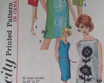 Vintage Simplicity  5309 Sewing Pattern Size 10 One-Piece Dress with 3 Necklines