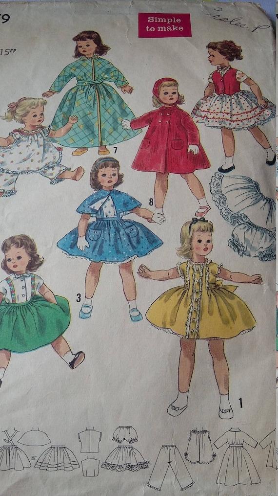 Vintage Einfachheit Nähen Muster 15 Zoll Größe Puppe Garderobe | Etsy