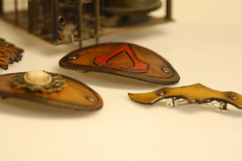 steampunk leather hair clip leaf made to order