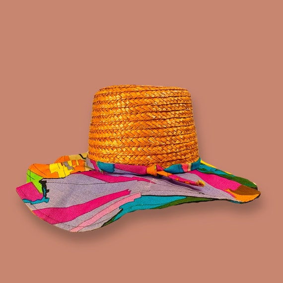 "Vintage 60s Rainbow "" Happy Cappers""  Sunhat"