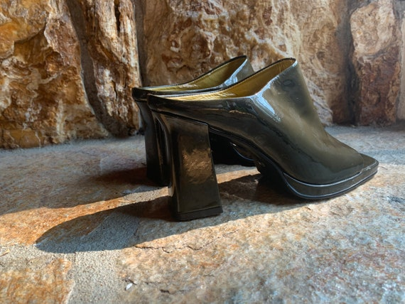 Moss Green Patent Leather Block Heel Open Toe Mul… - image 2