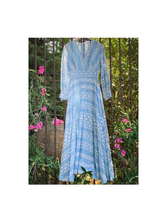 Blue Fairy Long Sleeve Embroidered Princess Dress