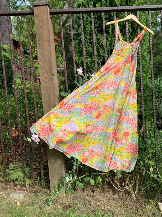 60s Psychedelic Spring Princess Dress with hooded