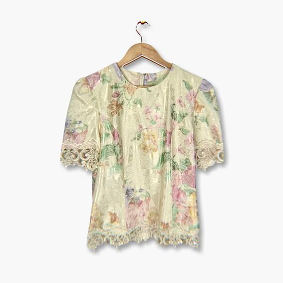 80s Cream Floral Lace Blouse - image 1