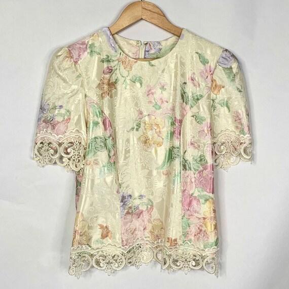 80s Cream Floral Lace Blouse - image 5