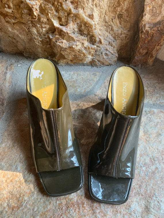 Moss Green Patent Leather Block Heel Open Toe Mul… - image 4