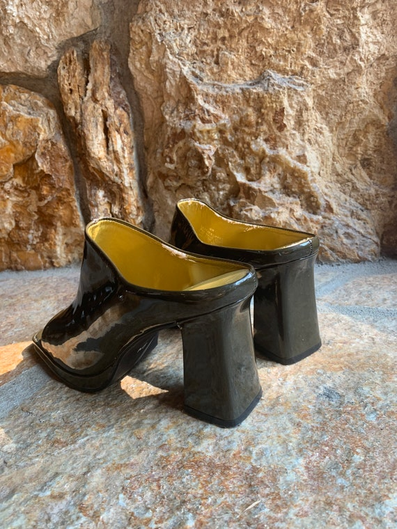 Moss Green Patent Leather Block Heel Open Toe Mul… - image 5