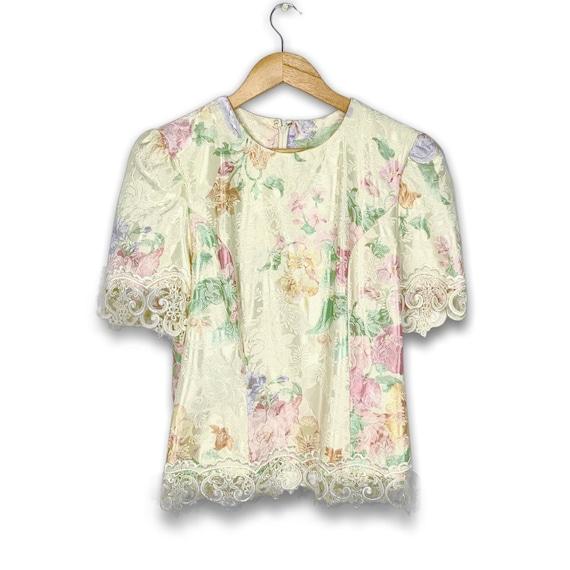 80s Cream Floral Lace Blouse - image 2