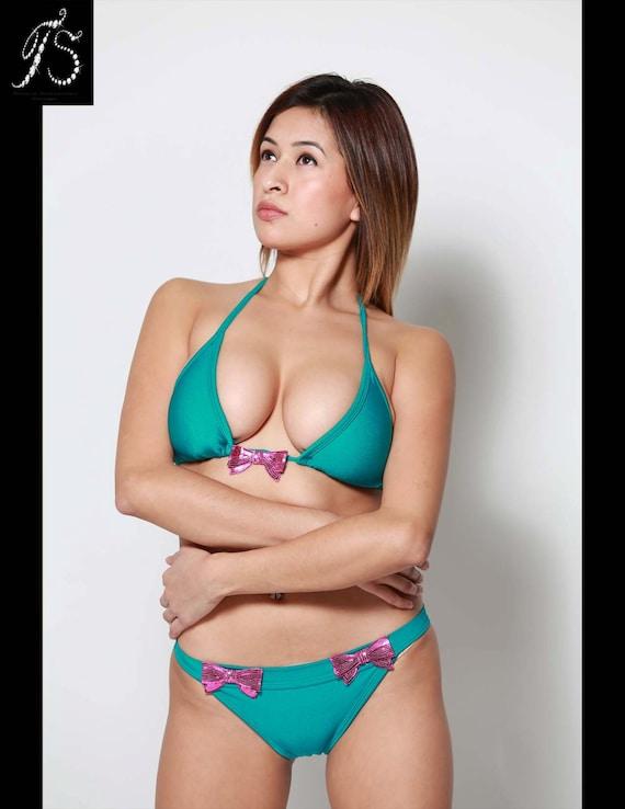 Halter Triangle Cut Sexy Cheeky Two Piece Bikini Swimsu Teens Love Huge Cocks 1