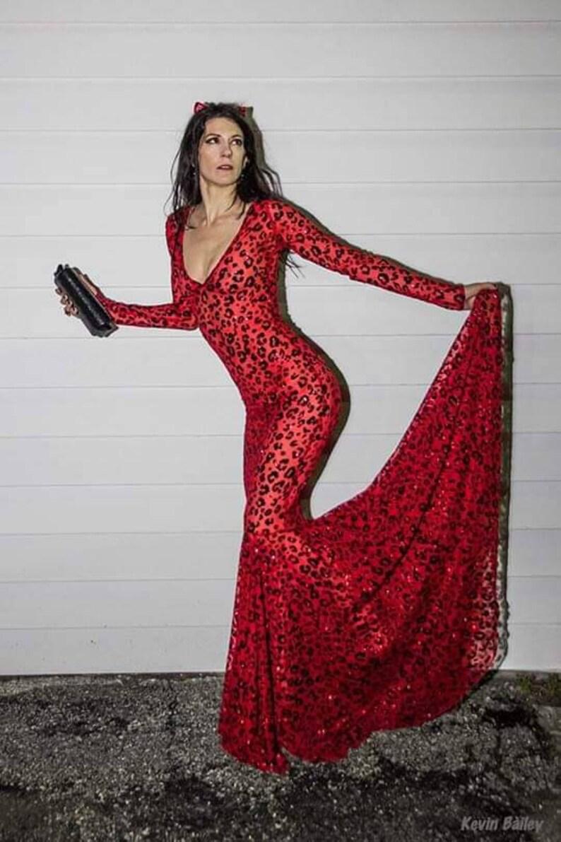 71b1608579 Sheer Gown Sheer Mesh Dress Leopard Print Gown Sheer Mesh