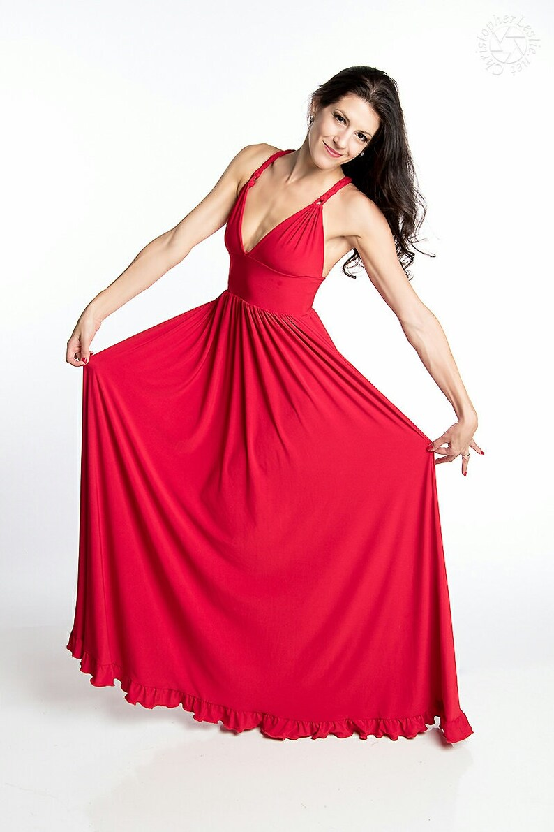 81b5d63cb94 Red Maxi Dress Designer Dress Sundress Long Dress Summer