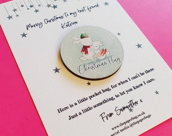 Social Distancing Isolation Gift Personalised be safe Christmas card with detachable Wooden Santa Pocket Hug token Isolation Gift