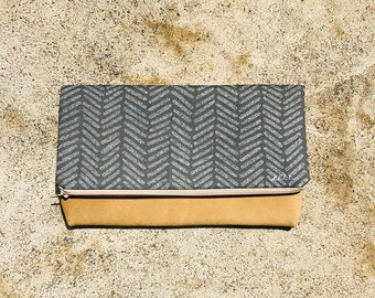 Large Herringbone Leather Foldover Clutch