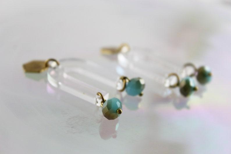 Minimalist Lasercut Earrings Geometric Brass Hexagon Hypoallergenic U shape Arc Earrings GEMMA Gemstone Horseshoe Dangle Earrings