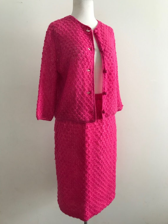 Vintage 1950s Hot Pink Hand Crocheted Sweater and