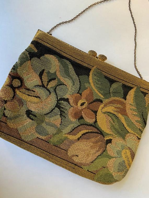 Vintage 1940s Delill Tapestry Purse / Vintage 40s