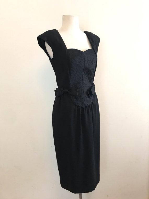 Vintage 1990s Carlisle Black Cocktail Dress / Vint