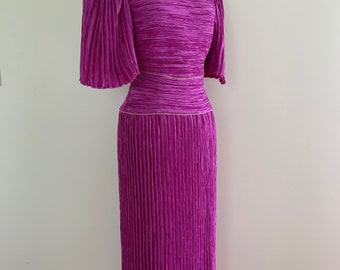 Vintage 1980s Micropleated Evening Gown / Vintage 80s Fortuny Style Cocktail Dress