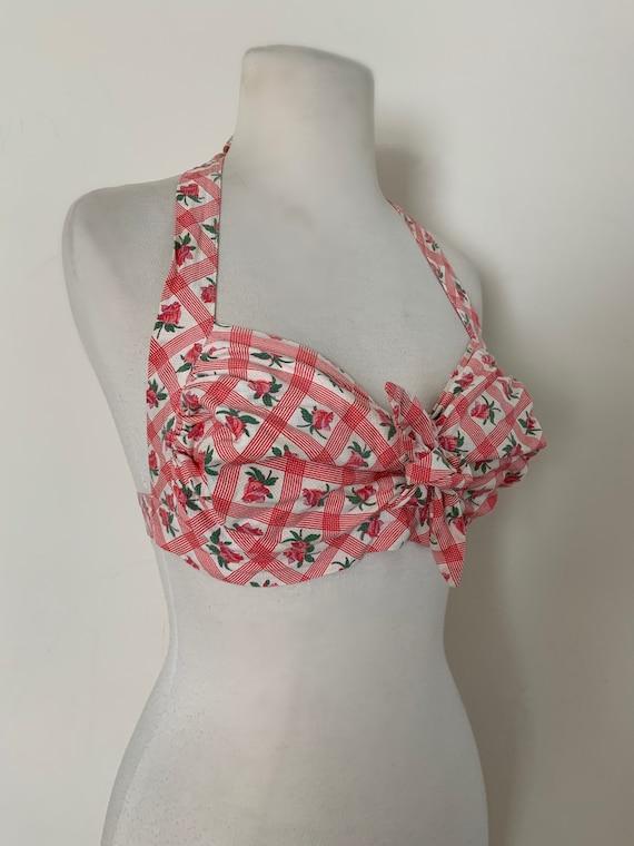 Vintage 1940s 1950s Cotton Bikini Top / Vintage Ro