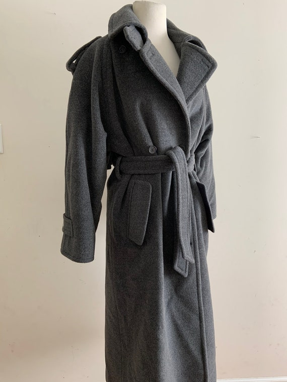 Vintage 1980s Perry Ellis Grey Wool Trench Coat /