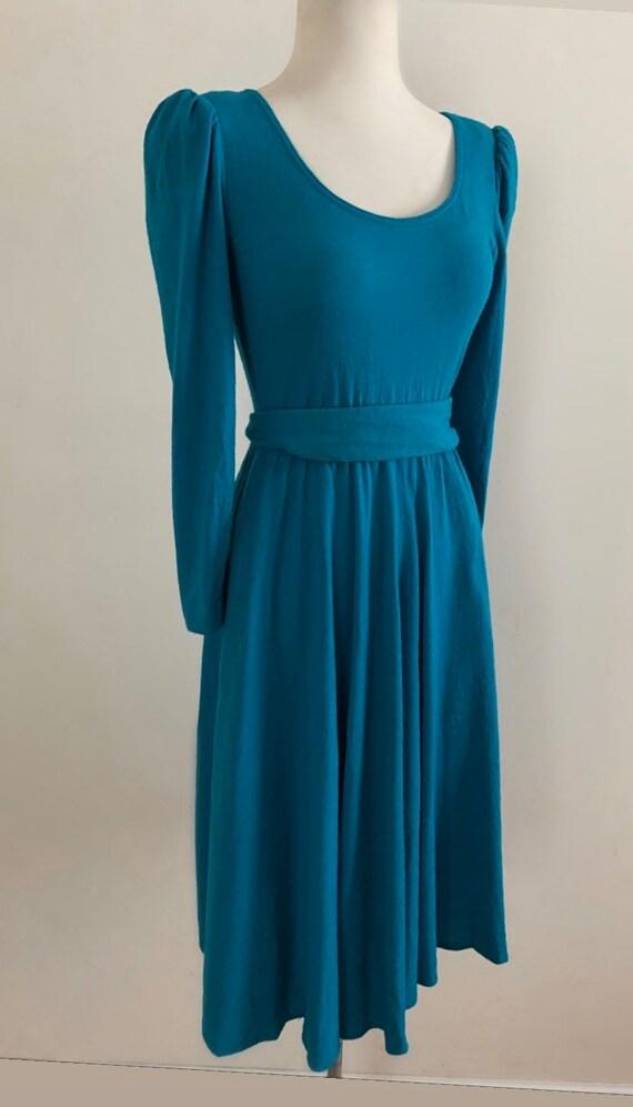 Vintage 1980s Teal Wool Long Sleeve Knit Dress / V