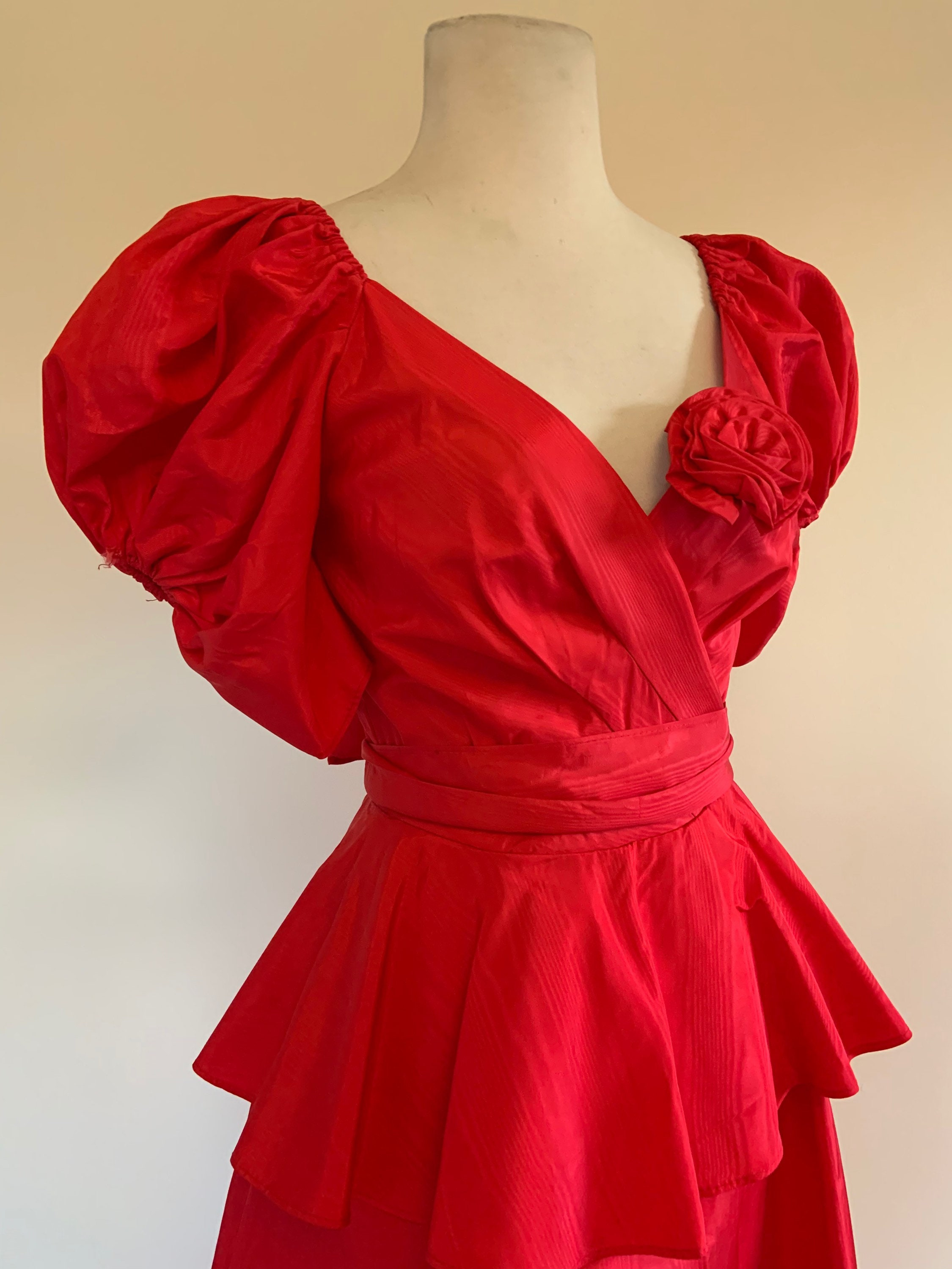 80s Dresses | Casual to Party Dresses Vintage 1980S Red Puffed Sleeve Peplum Dress80S Off Shoulder Cocktail $30.00 AT vintagedancer.com