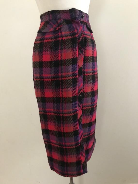 Vintage 1950s Plaid Wool Pencil Skirt / Vintage 50