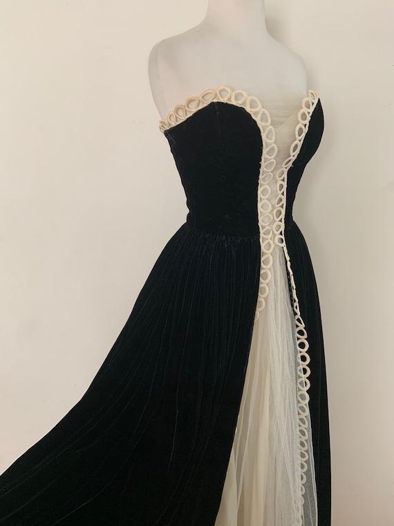 Vintage 1940s Silk Velvet Tuxedo Gown / Vintage 40